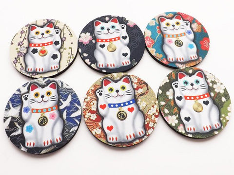 Maneki Neko Cat Coaster decor beckoning waving fortune lucky hostess gift party favors stocking stuffers Japanese Asian cute kawaii neoprene-Art Altered