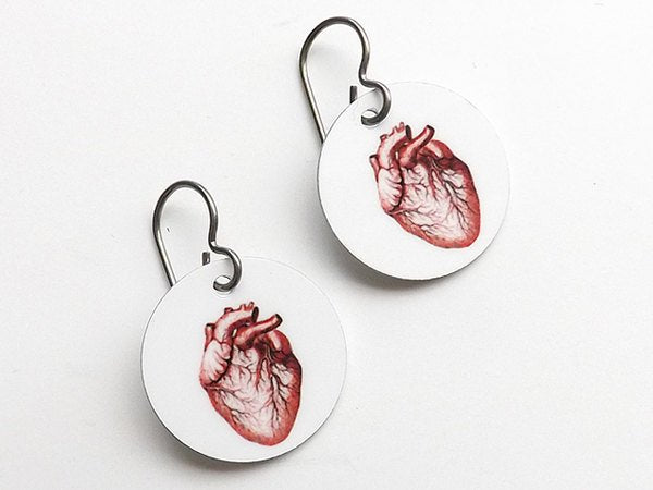 Anatomical Heart Earrings Medical School Graduation jewelry gift skull doctor nurse practitioner physician assistant student anatomy teacher-Art Altered