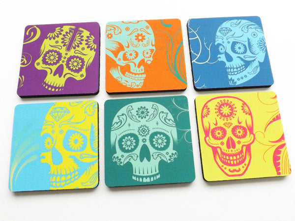 Colorful Sugar Skull Coaster modern dia de los muertos day of the dead wedding bridal party favor unique gift hostess housewarming halloween-Art Altered