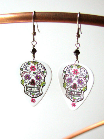 Guitar Pick Earrings Day of the Dead Sugar Skulls dia de los muertos Halloween calavera skeleton wedding shower party favors goth til death-Art Altered