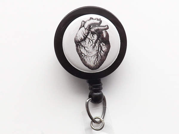 Retractable Badge Reel Anatomy Medical Gift doctor male nurse practitioner physician assistant teacher office id badge holder spine skull-Art Altered