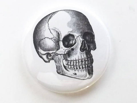 Button Pin Skull human body anatomy skeleton medical gift halloween student teacher professor geek goth black white-Art Altered