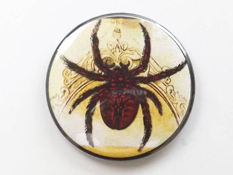 Button Pin Badge Spider halloween gift spooky scary arachnid pinback goth geekery trick or treat bag fridge magnet-Art Altered
