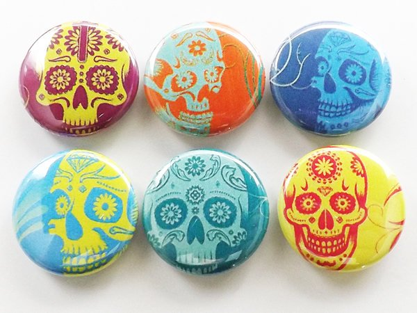 Fridge Magnets Day of the Dead Dia de los Muertos wedding shower favors calavera skeleton gift button pins coasters sugar skulls goth-Art Altered