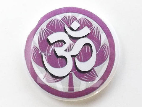 Magnet Om Lotus spiritual Buddhism meditation peace tranquility button pin coaster housewarming gift coworker eastern Buddhist-Art Altered