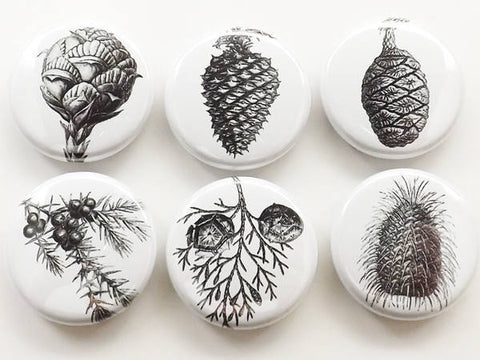 Pinecones fridge magnets set badge coasters conifers forest black white party favors stocking stuffers 1 inch minimalist gift pine cone tree-Art Altered