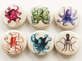 Octopus badges magnets coasters sea ocean office nature marine biology locker decoration gift cthulhu tentacles kraken rustic beach decor-Art Altered