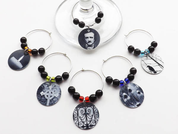 Halloween Drink Markers Glass Charms Hostess Housewarming Poe goth home decor macabre gift-Art Altered