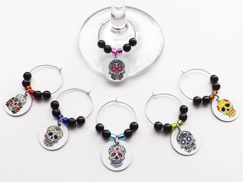 Sugar Skulls Drink Glass Charms Day of the Dead Dia de los Muertos markers gift-Art Altered
