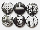 Fridge Magnets Poe Raven halloween party favor macabre goth crow stocking stuffer spooky trick or treat bags filler horror gift button pins-Art Altered