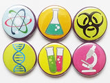 Science Magnets microscope DNA test tubes beaker atom hazard party favors stocking stuffers laboratory lab geekery nerd dork pins gifts-Art Altered
