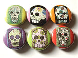 Day of the Dead Button Pins Sugar Skulls Dia De Los Muertos badges wedding shower skeleton calavera party favors gifts magnet set goth-Art Altered