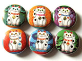 Maneki Neko Fridge Magnets Set refrigerator gifts fortune waving fortune stocking stuffer party favor shower hostess housewarming pins-Art Altered