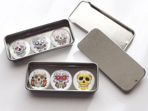 "Sugar Skulls Gift Set slide top tins six 1"" fridge magnets pins stocking stuffers geek goth day of the dead halloween dia de los muertos-Art Altered"