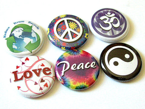 Peace Love Om yin yang button pins badges hippie retro stocking stuffer party favor flair hippy trippy magnets gifts-Art Altered