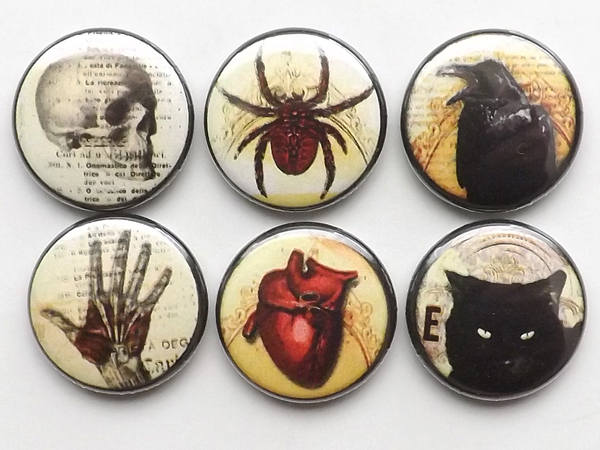 Goth Horror macabre pins badges pinback buttons heart skull hand black cat raven crow halloween flair party favor magnet geekery gifts decor-Art Altered
