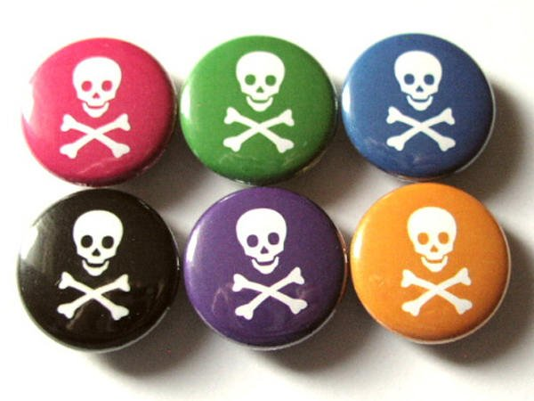 Skull and Crossbones pins buttons badges pirate pastel goth stocking stuffers party favors flair accessories gifts geekery magnets-Art Altered