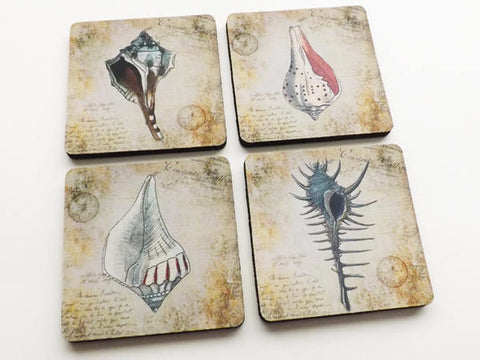 Rustic Sea Shells Nautical Coaster Set ocean beach theme home decor housewarming hostess gift drink beverage flexible neoprene mug rug mat-Art Altered