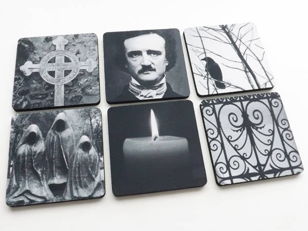 Edgar Allan Poe Coaster Halloween hostess gift party favor goth decorations trick treat spooky macabre cemetery raven gothic decor mug mat-Art Altered