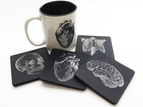 Drink Coasters and Coffee Mug Gift Set Anatomy physician assistant doctor male nurse anatomical heart goth biology white coat ceremony skull-Art Altered
