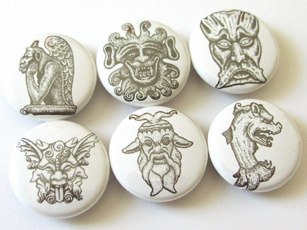 Gargoyles Fridge Magnet set grotesque gothic goth medieval party favors protection shower flair refrigerator gift for him stocking stuffer-Art Altered