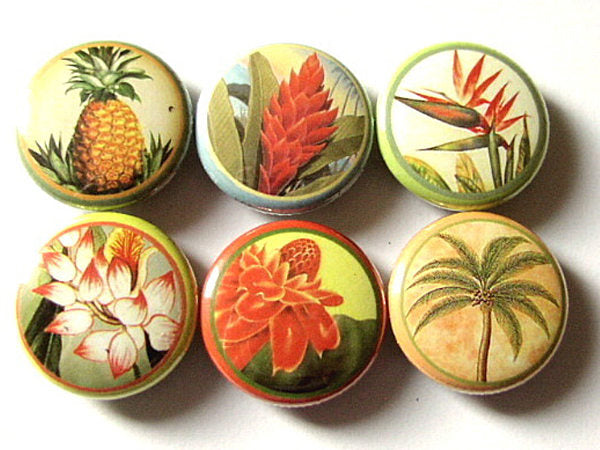 Hawaiian Flowers button pins badges magnets floral tropical retro kitsch palm tree pineapple party favors shower gifts housewarming hostess-Art Altered