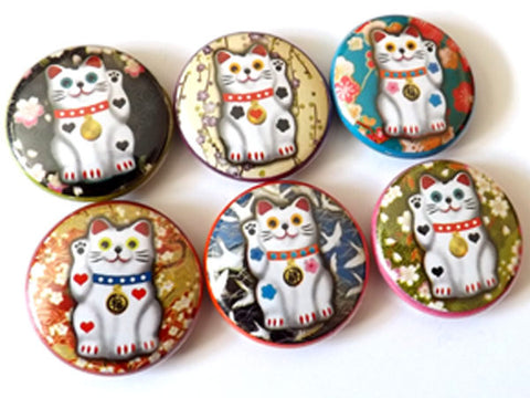 Maneki Neko Cat fortune button pins badges magnets kitty lucky stocking stuffer party favors gift flair geekery housewarming hostess waving-Art Altered