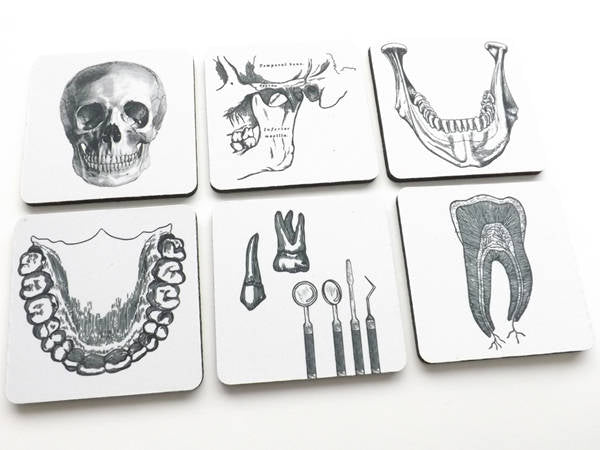 Dentist Dental Hygienist Drink Coasters gift set teeth jaw orthodontist graduation party favors stocking stuffers male masculine black white-Art Altered