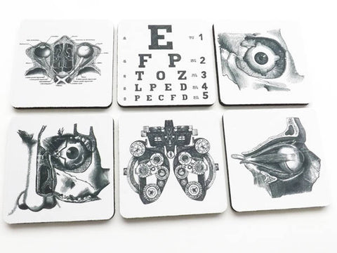 Eye Doctor Drink Coasters optometrist ophthalmologist anatomy optical gift set graduation party favors stocking stuffers black white-Art Altered