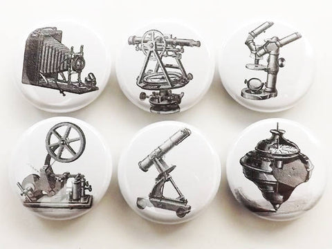 Tools fridge magnet gift set vintage camera microscope science steampunk old time locker decoration party favor button pins stocking stuffer-Art Altered
