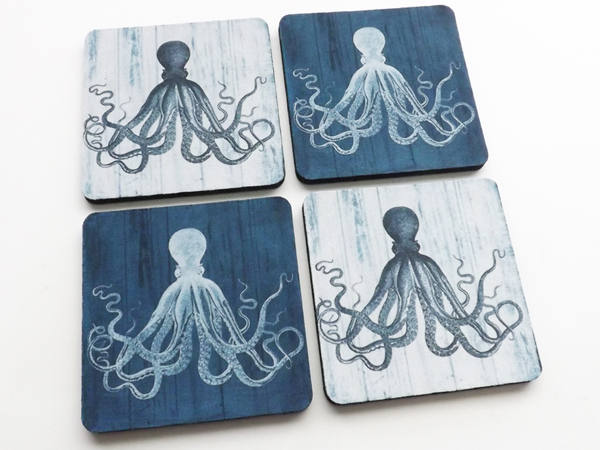 Coaster Set Octopus beach ocean theme gifts kraken tentacles sea life home kitchen decor nautical coastal cottage party favor wedding shower-Art Altered