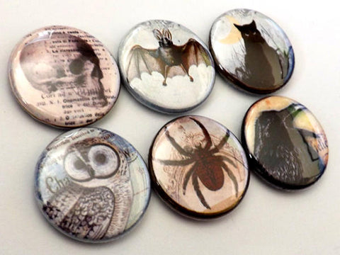Horror Macabre Goth fridge magnet set spider skull crow cat bat halloween gifts party favor stocking stuffer trick or treat bags button pins-Art Altered