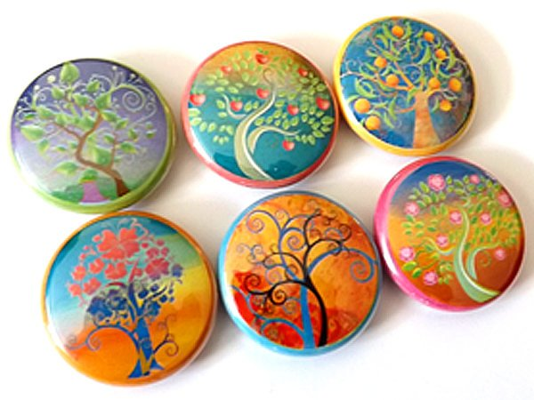 Leaves Trees Flowers button pins badges pinbacks retro nature mod fall autumn party favors stocking stuffers gifts magnets housewarming-Art Altered