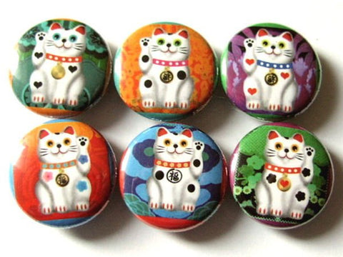 Lucky Cat Maneki Neko button pins badges kitty fortune waving magnets stocking stuffers party favors geekery housewarming hostess gift-Art Altered