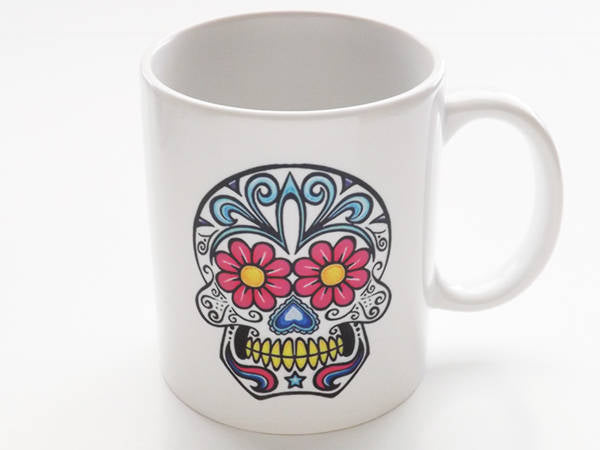 Sugar Skull Coffee Mug stocking stuffer men coworker Halloween party favor wedding shower gift bride groom day of the dead holiday goth geek-Art Altered