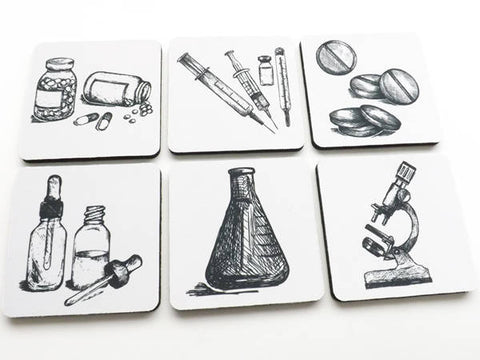Pharmacist Drink Coasters Gift Set beaker microscope vials pills syringe medication pharmacy science biology prescription graduation male-Art Altered