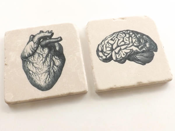 Stone Coasters, Rustic Anatomy theme medical gift, cork back, set of two, four or six, matte finish, housewarming hostess, doctor male nurse-Art Altered