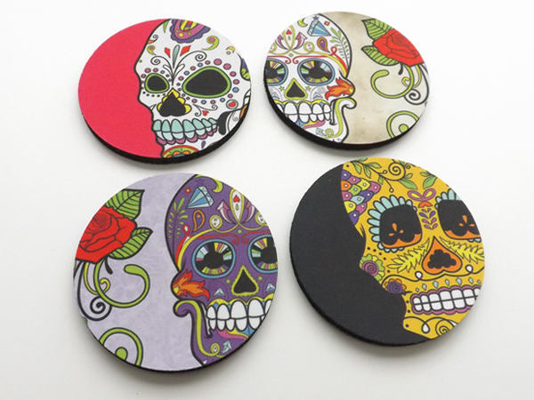 Dia de los Muertos Drink Coasters set of 4 halloween home decor sugar skulls skeleton gift-Art Altered