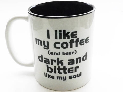 Coffee Mug Funny Coworker Gift dark bitter soul novelty humor geek nerd dork stocking stuffer gift for dad men boyfriend him snarky snark-Art Altered