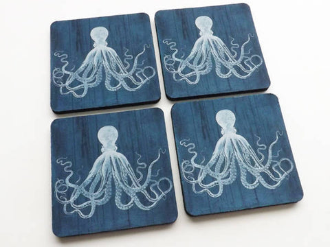 Nautical Drink Coaster Gift Set mug mats Dark Blue Octopus beach housewarming tentacles kraken rustic style ocean hostess gift masculine-Art Altered