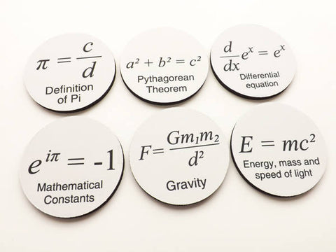 Math Formula Coasters graduation gift arithmetic pi father's day relativity mathmatics science teacher party geekery college back to school-Art Altered