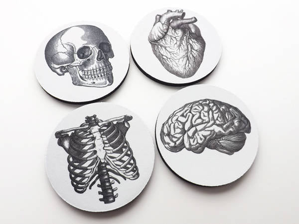 Doctor Nurse gift drink Coasters anatomy gothic home decor school dorm doctor anatomical thank you physician assistant geek goth mug mat rug-Art Altered
