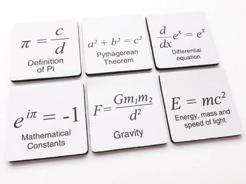 Math drink Coaster teacher stocking stuffer gift science Pi Day party favor home decor graduation back to school geek logic arithmetic-Art Altered