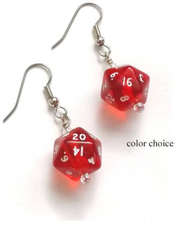 Mini D20 Dice Earrings color choice gamer gifts geekery polyhedral rpg stocking stuffers party favors dnd nerd dork game pieces jewelry-Art Altered