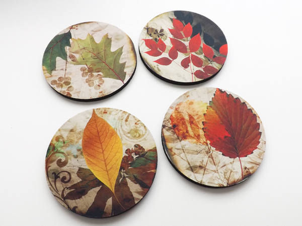 Fall Leaves drink Coasters Autumn hostess gift set housewarming holiday nature thanksgiving stocking stuffers party favors home decor-Art Altered