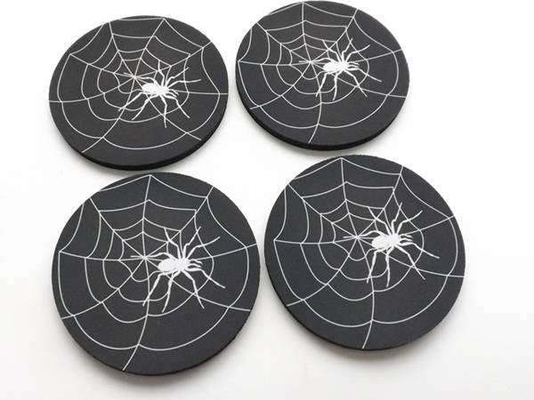Spider Web Drink Coaster gift set spooky Halloween home goth decor hostess housewarming trick or treat party favor geekery color choice goth-Art Altered