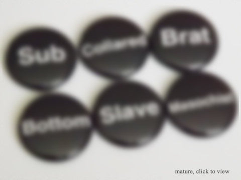 BDSM Magnets sub bottom collared slave masochist brat gifts scene novelty stocking stuffer men him play party favors kinky fetish pins goth-Art Altered