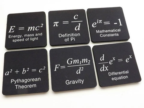 Math Formulas drink coasters science Pi Day gift party favor masculine home decor graduation back to school geek logic arithmetic relativity-Art Altered