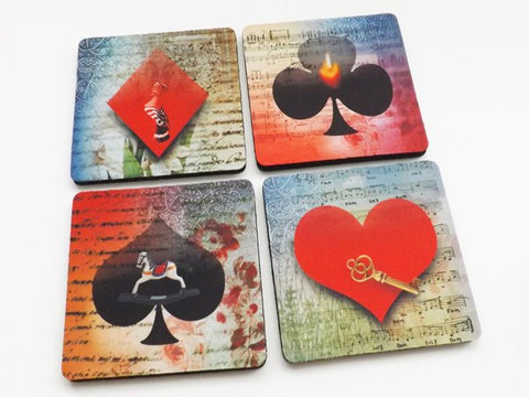 Poker Coasters playing cards suits diamond spade club heart girls game night housewarming hostess gift for him her man cave guy party favors-Art Altered
