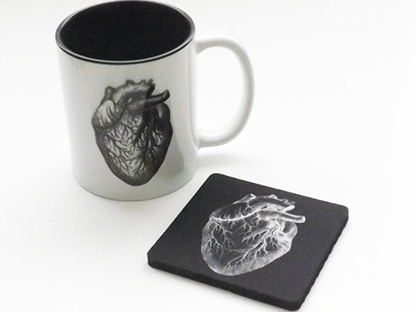Drink Coaster Coffee Mug Gift Set anatomy physician assistant doctor male nurse anatomical heart goth biology white coat ceremony graduation-Art Altered
